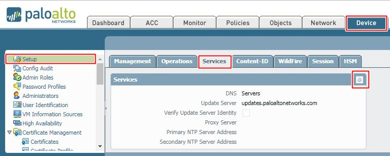 Change DNS for Palo Alto