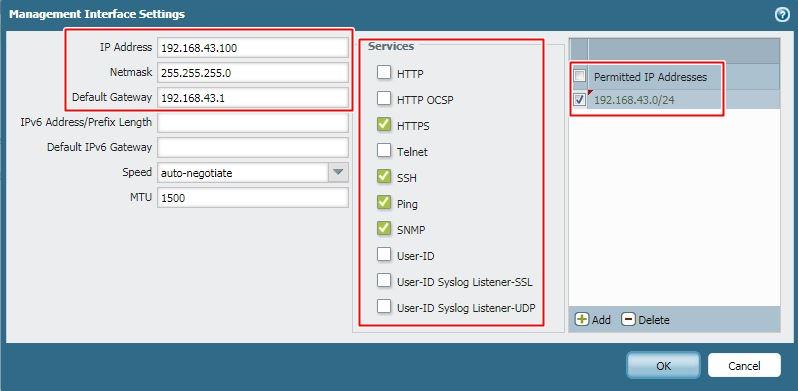 Management IP configuration details