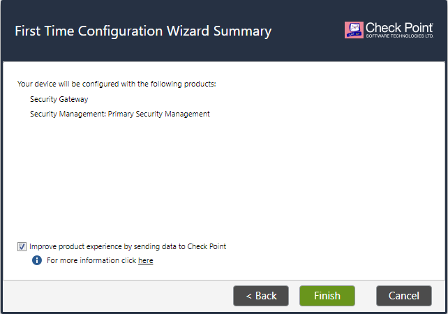 First Time Configuration Wizard Summary