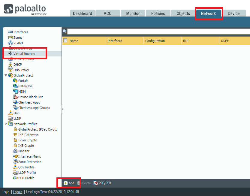 Virtual Routers Section