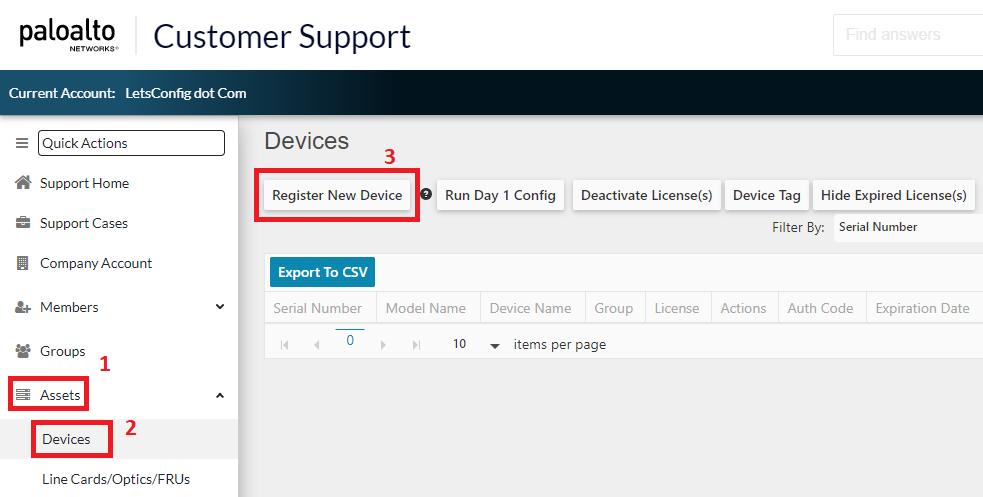 Register New Device in PA portal
