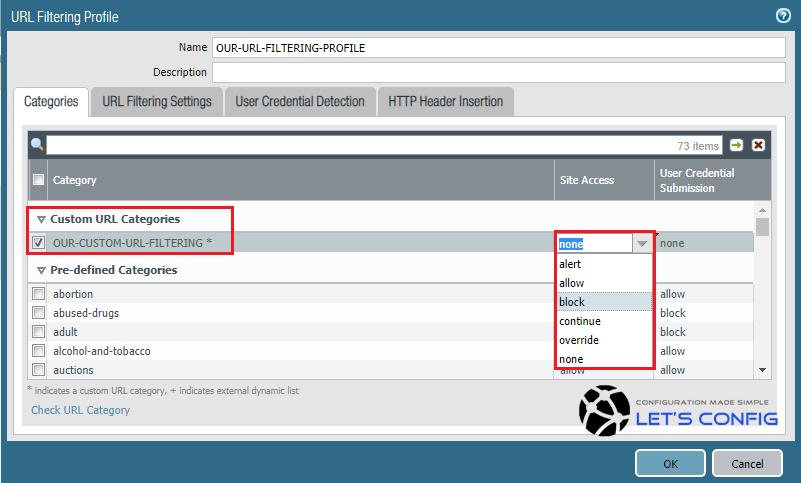 Custom URL Filtering