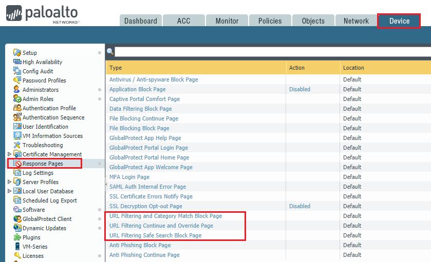 URL Filtering Response Page