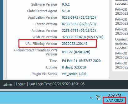 URL Filtering Version Check