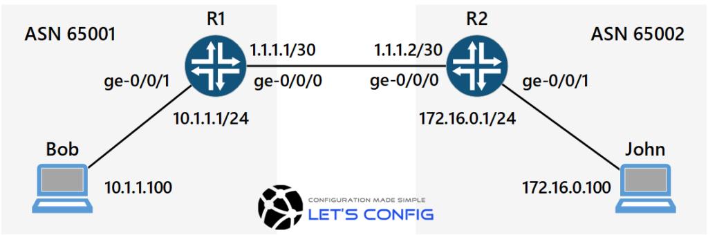 How to configure eBGP on Juniper Router