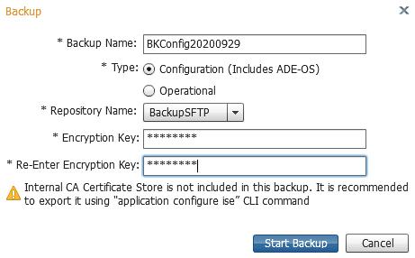 Backup Cisco ISE configuration