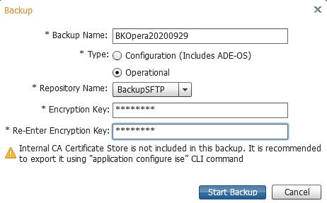 Backup Cisco ISE operational