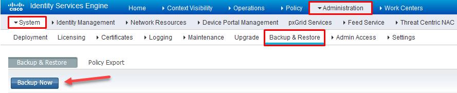 Cisco ISE Backup Path