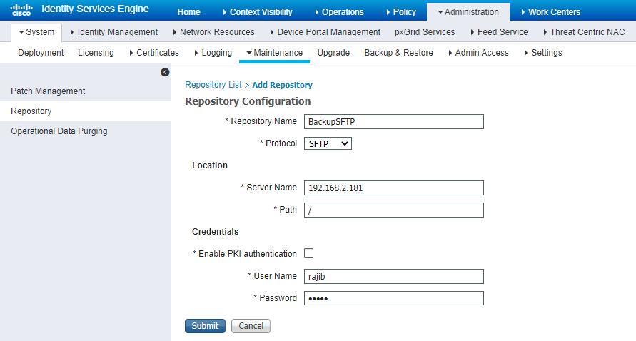 Cisco ISE Repository