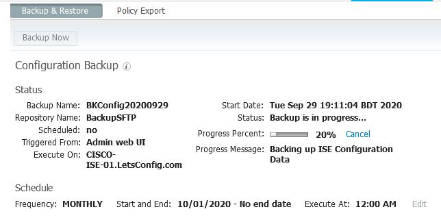 Cisco USE Backup through SFTP Config Progress