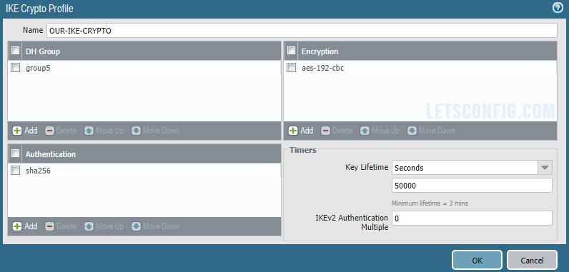 Palo Alto Networks IPSec configuration IKE Crypto Profile