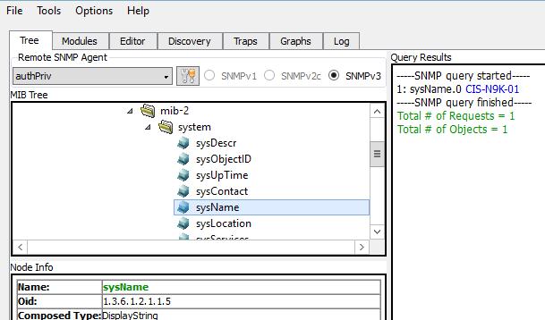 snmp v3 configuration verification