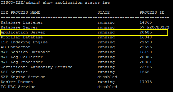 Process Status - Cisco ISE installation
